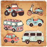 Retro cars icons set Stock Photo