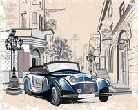 Retro cars and old city street views. Series of vintage backgrounds decorated with retro cars and old city street views. Hand drawn Vector Illustration Royalty Free Stock Photography