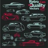 Retro cars outline icons set 2. royalty free illustration