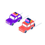 Retro cars ride with luggage in isometric style. Two retro cars ride with luggage, purple with a rounded roof, and red with a square roof, isometric style Stock Photo