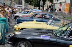 Retro cars in a row on display outdoors in Lvov Stock Photo