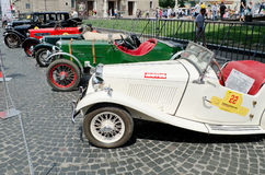 Retro cars in a row on display outdoors in Lvov Stock Photography