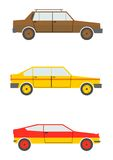Retro cars. Set of cartoon silhouettes of cars from the 80s isolated on a white background. Vector Royalty Free Stock Photography