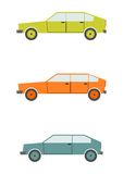 Retro cars. Set of cartoon silhouettes of cars from the 80s isolated on a white background. Vector Royalty Free Stock Photo