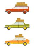 Retro cars. Set of cartoon silhouettes of cars from the 80s isolated on a white background. Vector Royalty Free Stock Images
