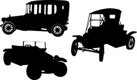 Retro cars silhouettes collection Royalty Free Stock Image