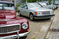 Retro cars standing in a row Royalty Free Stock Photography