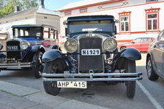 Retro Cars. Uusikaupunki, Finland - August, 9, 2014: Two well restored Nash club cars royalty free stock photo