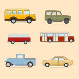 Retro Cars. Vector set of colorful cars on yellow background vector illustration