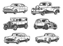 Retro cars and vehicles vintage, vector. Retro cars and vintage antique vehicle models. Vector isolated icons of transport taxi cab, sport car and minivan, old royalty free illustration
