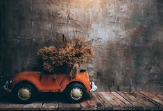 Retro cars on wooden table and texture old wall background Royalty Free Stock Photography