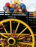 Retro cart with horse and flowers Stock Images