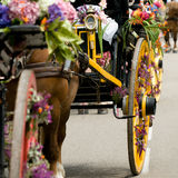 Retro cart with horse and flowers Royalty Free Stock Photos