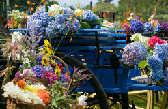Retro cart with horse and flowers Stock Image
