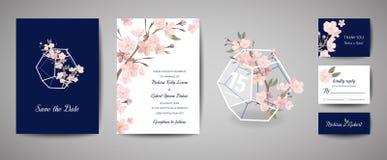 Retro carta botanica dell'invito di nozze, risparmi dell'annata la data, progettazione del modello dei fiori di sakura e foglie,  illustrazione di stock
