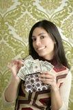 Retro carta da parati dell'annata della donna del dollaro della borsa Fotografia Stock Libera da Diritti