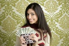 Retro carta da parati dell'annata della donna del dollaro della borsa Fotografie Stock Libere da Diritti