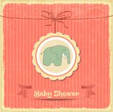 Retro carta della doccia di bambino con il piccolo elefante Immagine Stock Libera da Diritti
