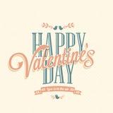 Retro carta di San Valentino felice Fotografie Stock Libere da Diritti