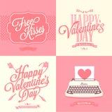 Retro carta di San Valentino felice Immagine Stock Libera da Diritti