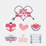 Retro carta di San Valentino felice Immagine Stock