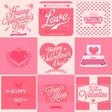 Retro carta di San Valentino felice Fotografia Stock Libera da Diritti