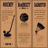 Retro carta di sport Mette in mostra gli oggetti sulla carta kraft Fotografie Stock Libere da Diritti
