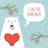 Retro carta disegnata a mano sveglia di giorno del ` s del biglietto di S. Valentino come orso divertente con cuore ed il fumetto Fotografia Stock