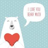 Retro carta disegnata a mano sveglia di giorno del ` s del biglietto di S. Valentino come orso divertente con cuore ed il fumetto Fotografie Stock Libere da Diritti