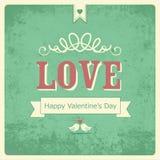 Retro carta felice di San Valentino Fotografia Stock