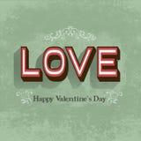 Retro carta felice di San Valentino Immagini Stock