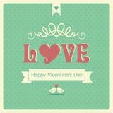 Retro carta felice di San Valentino Immagini Stock Libere da Diritti
