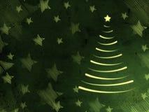 Retro carta verde con l'albero di Natale e le stelle illustrazione vettoriale