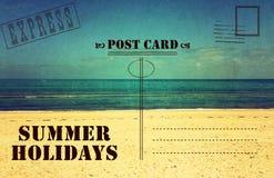 Retro cartolina d'annata di vacanza di vacanze estive Immagine Stock