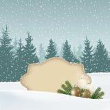 Retro, cartolina d'auguri d'annata di Natale, invito Paesaggio di inverno di Snowy con la foresta, etichetta di carta per testo,  Immagini Stock