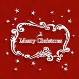 Retro cartolina d'auguri dell'etichetta di Buon Natale Fotografia Stock Libera da Diritti