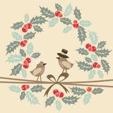 Retro cartolina d'auguri di natale con gli uccelli, agrifoglio Fotografia Stock
