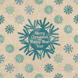 Retro cartolina d'auguri di Natale con i fiocchi di neve Fotografia Stock Libera da Diritti