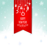 Retro cartolina d'auguri e fondo di Natale con l'albero di Natale disegnato a mano e la bagattella d'attaccatura Fotografie Stock
