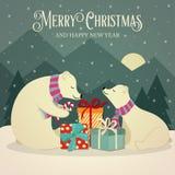 Retro cartolina di Natale con gli orsi polari famiglia e presente illustrazione vettoriale