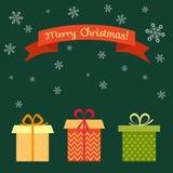 Retro cartolina di Natale con il contenitore di regalo Natale e nuovo anno postali Fotografia Stock