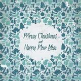 Retro cartolina di Natale con il reticolo stagionale Fotografie Stock Libere da Diritti