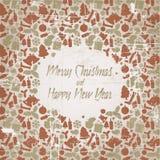 Retro cartolina di Natale con il reticolo stagionale Immagine Stock Libera da Diritti