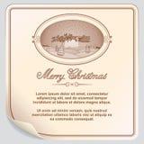 Retro cartolina di Natale con Santa Sleigh Immagine Stock