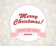 Retro cartolina di Natale dell'annata semplice Fotografia Stock Libera da Diritti