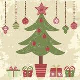 Retro cartolina di Natale di stile Fotografia Stock