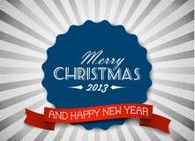 Retro cartolina di Natale di vettore dell'annata semplice Fotografia Stock Libera da Diritti