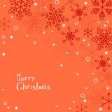 Retro cartolina di Natale semplice con i fiocchi di neve bianchi Fotografia Stock