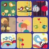 Retro cartoline d'auguri fiorite di disegno Immagini Stock Libere da Diritti