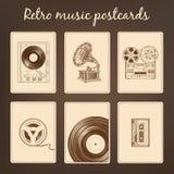 Retro cartoline di musica Fotografie Stock Libere da Diritti